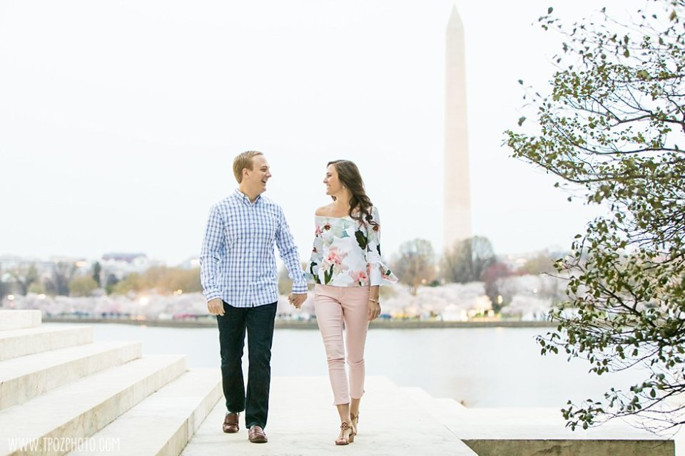DC Cherry Blossom Engagement Photos •  tPoz Photography •  www.tpozphoto.com