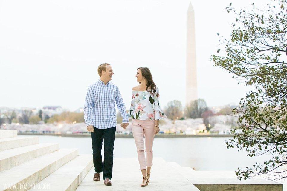 DC Cherry Blossom Engagement Photos • tPoz Photography • www.tpozphoto.com