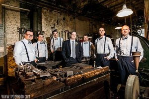 Groomsmen at the Machinery Gallery - Baltimore Museum of Industry wedding