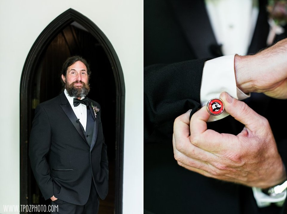 Natty Boh cufflinks at a Chase Court Wedding || tPoz Photography || www.tpozphoto.com