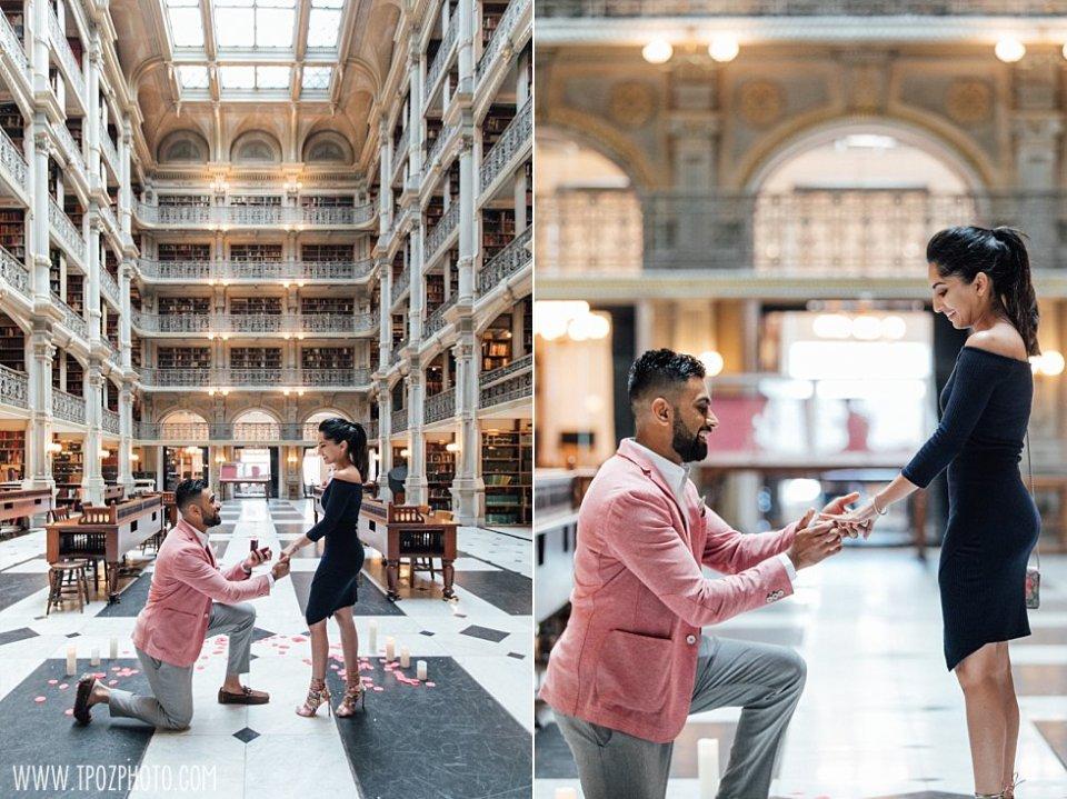 Peabody Library Wedding Proposal || tPoz Photography || www.tpozphoto.com