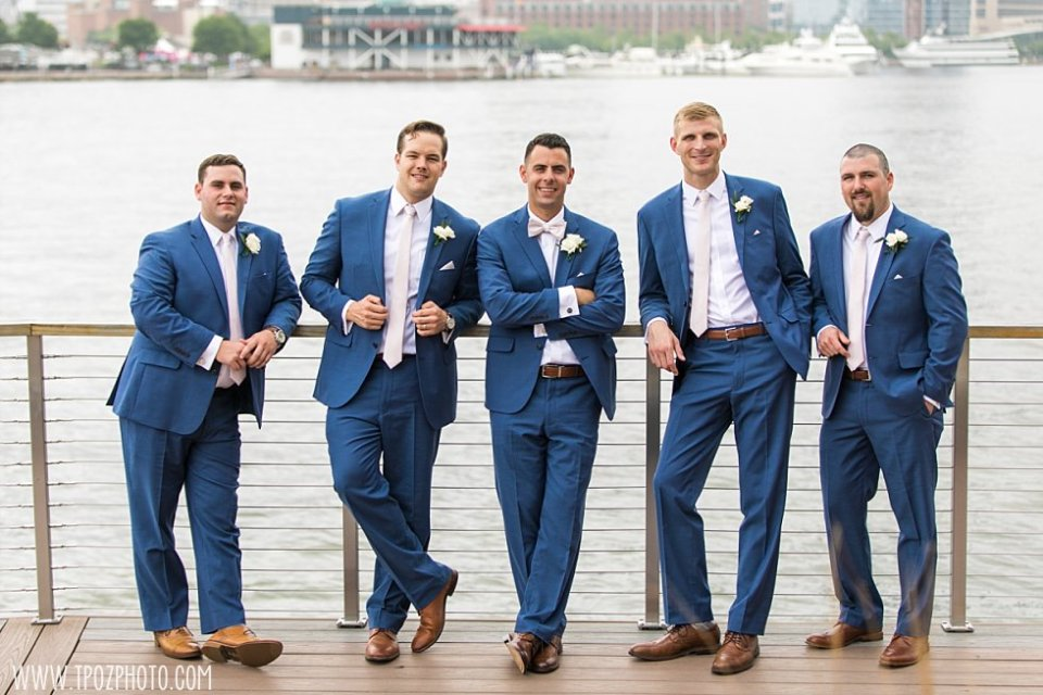 Groomsmen in blue suits pink bow ties Baltimore •  tPoz Photography  •  www.tpozphoto.com
