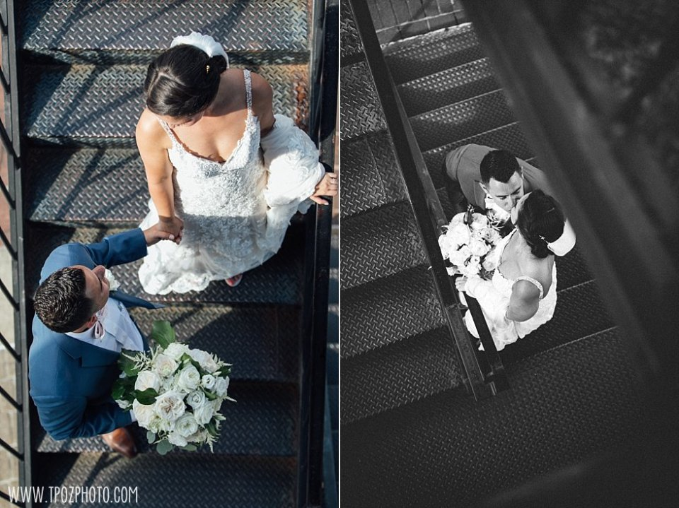 Baltimore Wedding Photos on the Lighthouse steps •  tPoz Photography  •  www.tpozphoto.com