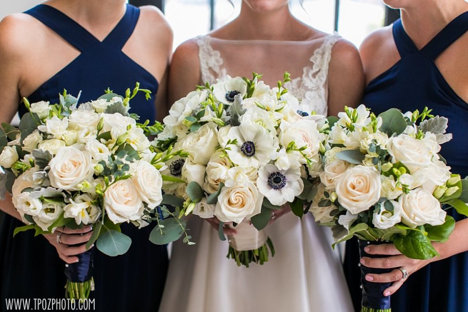 White & Green wedding bouquet with anemones •  tPoz Photography • www.tpozphoto.com