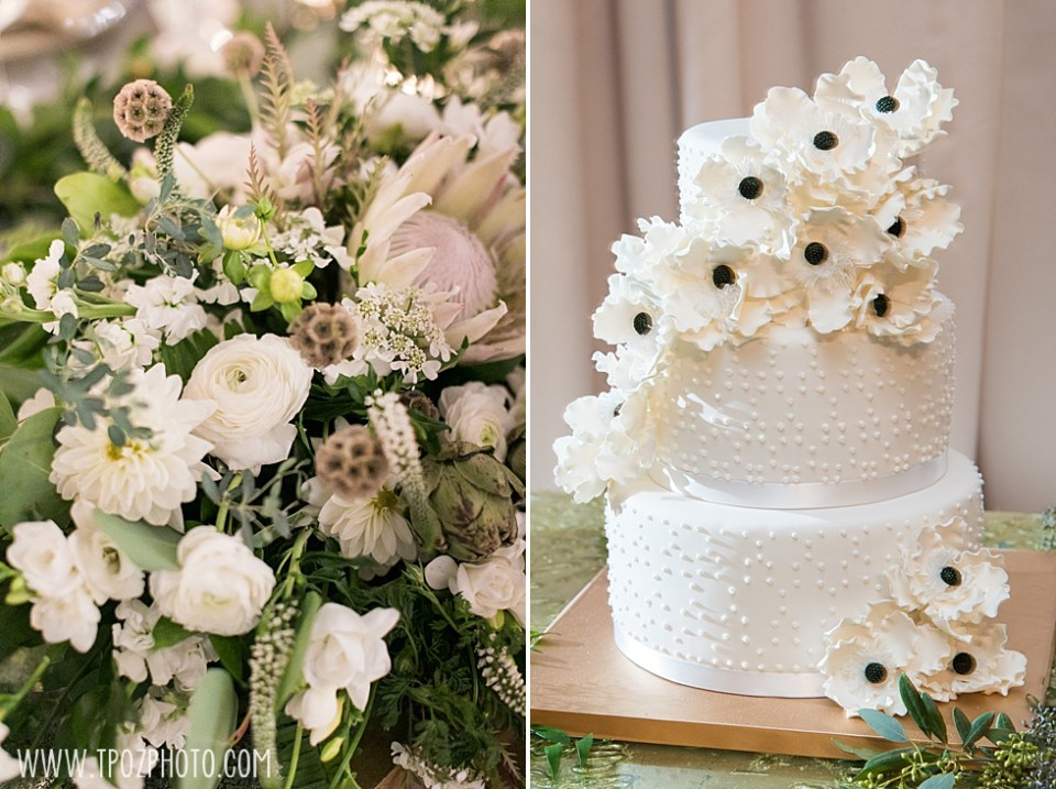 white wedding Cake by Jason Hisley and white flowers from Ann's Garden • tPoz Photography  • www.tpozphoto.com