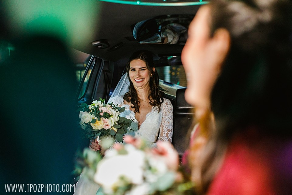 Bride in Limousine  •  tPoz Photography •  www.tpozphoto.com