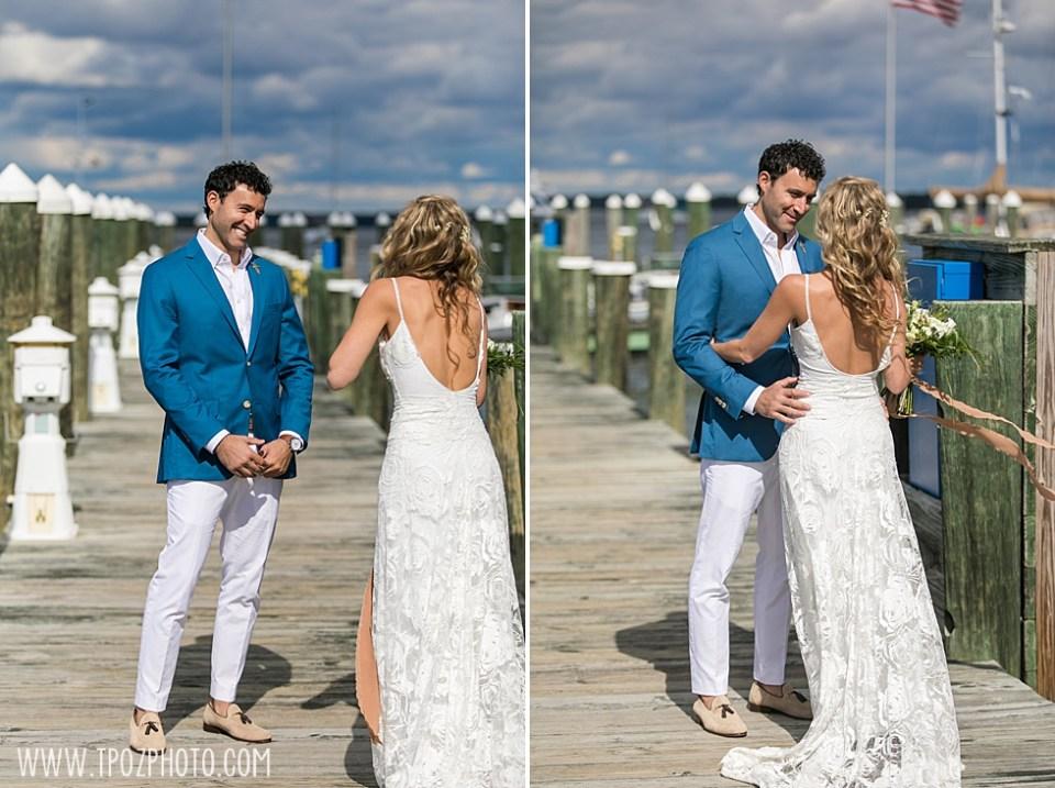 wedding First Look at St Michaels Harbor Inn