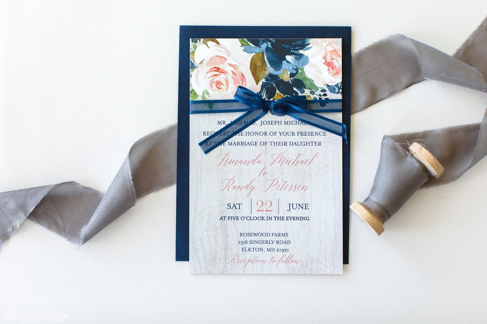 Wedding Invitation Suite flatlay - Maryland Wedding Photographer