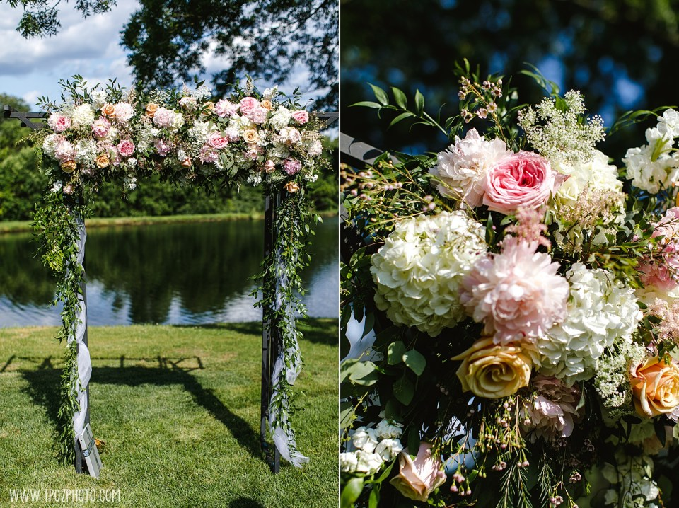 Floral Arch at a Wedding Ceremony at Rosewood Farms