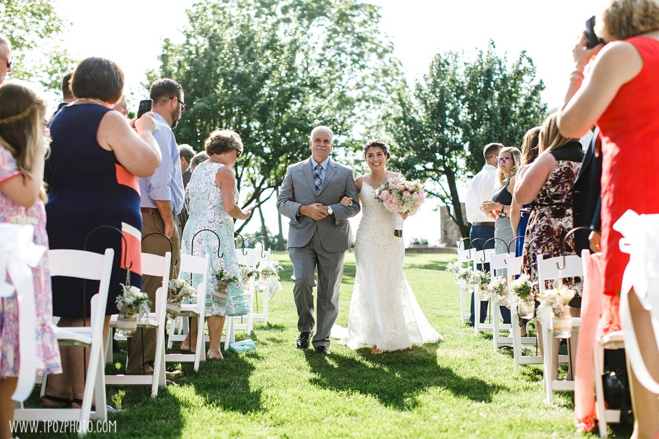 Dad walking bride down the aisle at a Wedding Ceremony at Rosewood Farms - Maryland Wedding Photographer