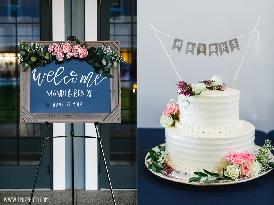 Wedding welcome sign and cake