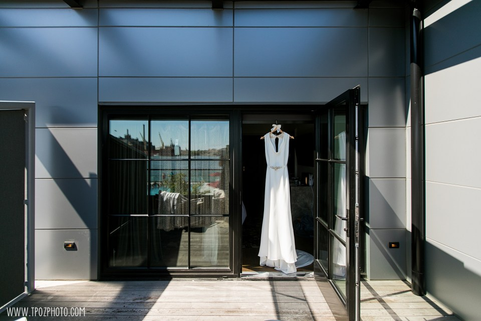 wedding dress hanging at the Sagamore Pendry