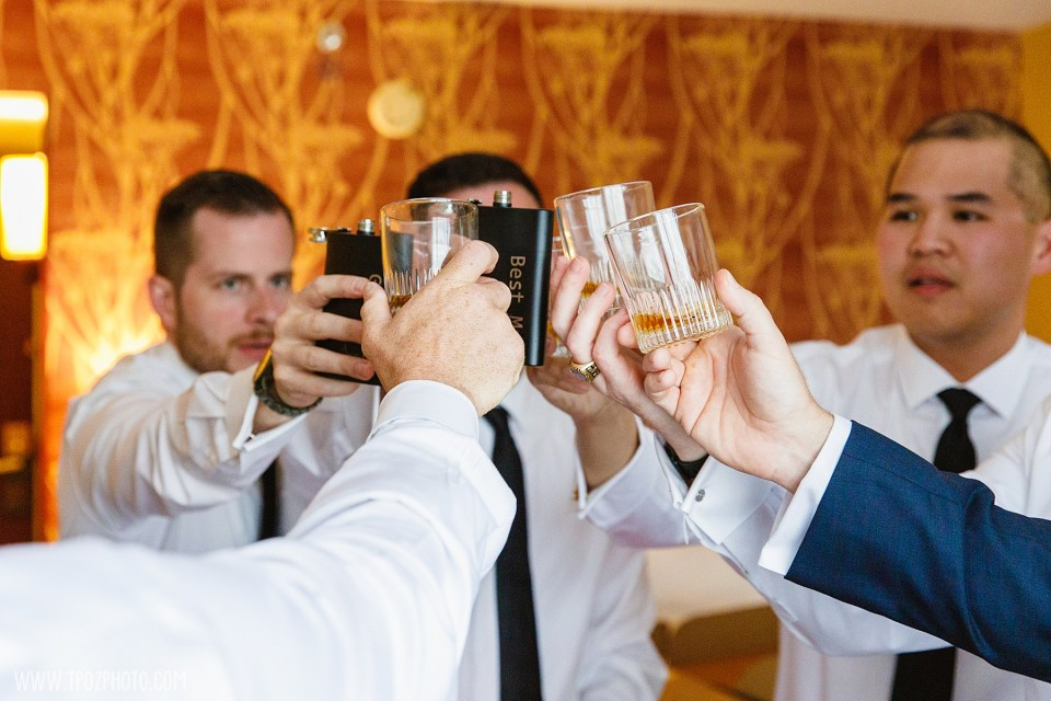 groom gets ready with a cheers