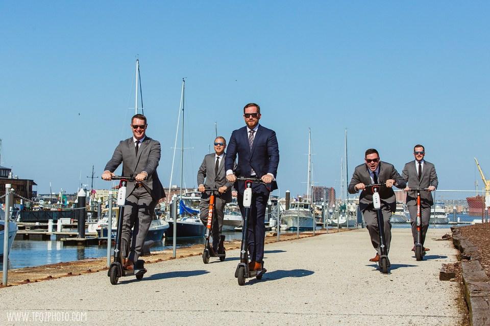 groomsmen on BIRD scooters