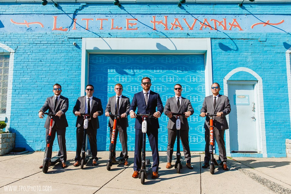 groomsmen on scooters at Little Havana in Baltimore