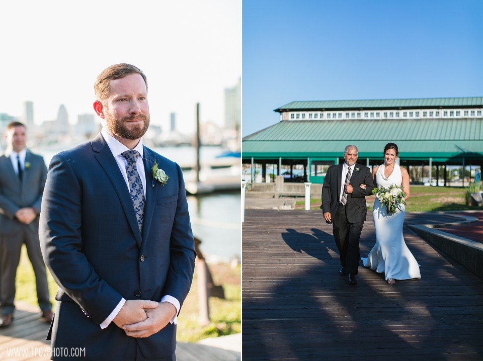 groom waits for his bride at a summer BMI wedding ceremony