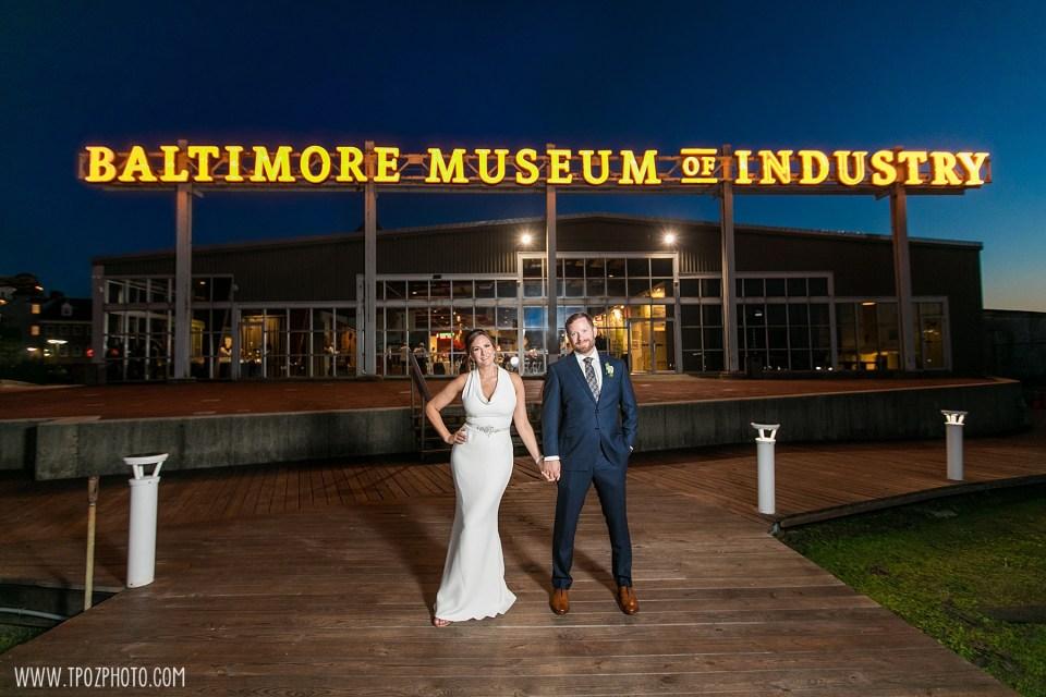 Baltimore Museum of Industry wedding photos night shot