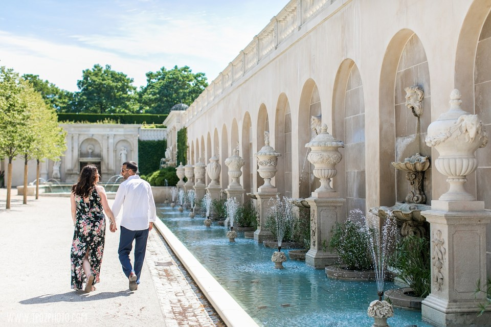 Couple walking in front of the Loggia at Longwood Gardens