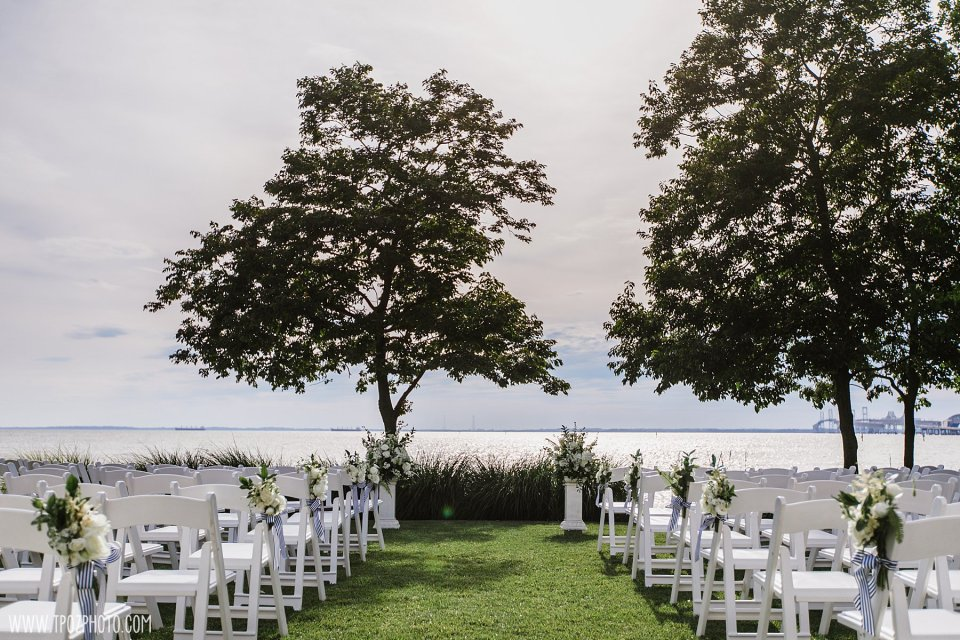 wedding ceremony setup at the Chesapeake Bay Beach Club