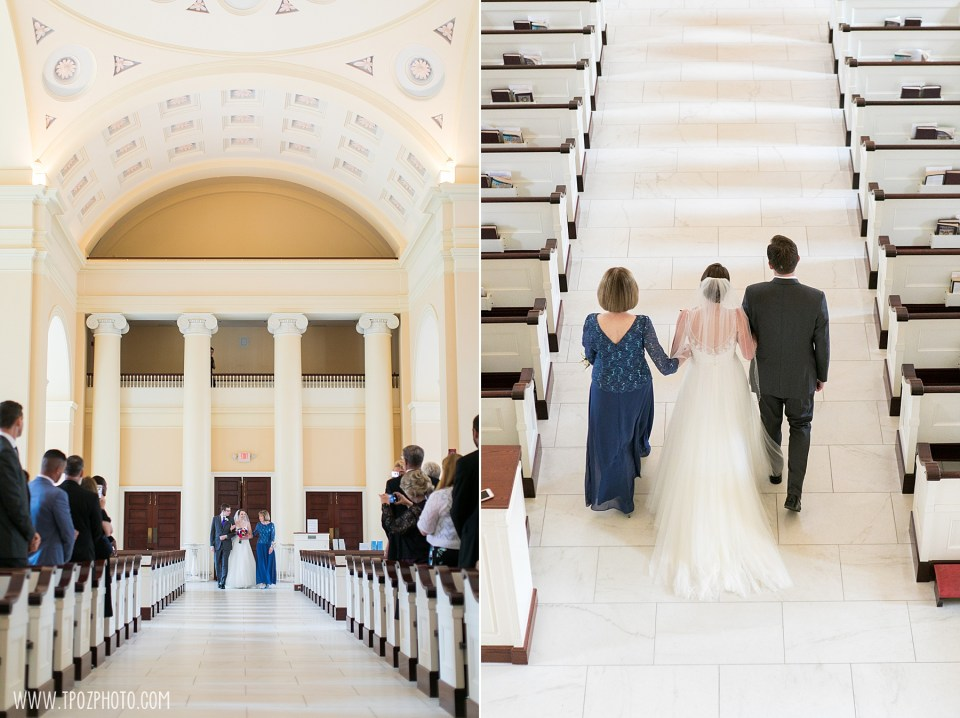Bride walks down the aisle at a Baltimore Basilica Wedding Ceremony