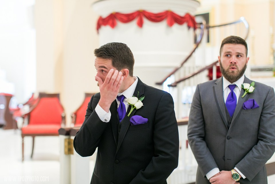 Groom cries at a Baltimore Basilica Wedding Ceremony