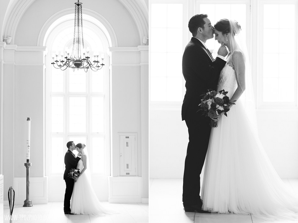 Bride & Groom in front of a window Baltimore Basilica Wedding Photos