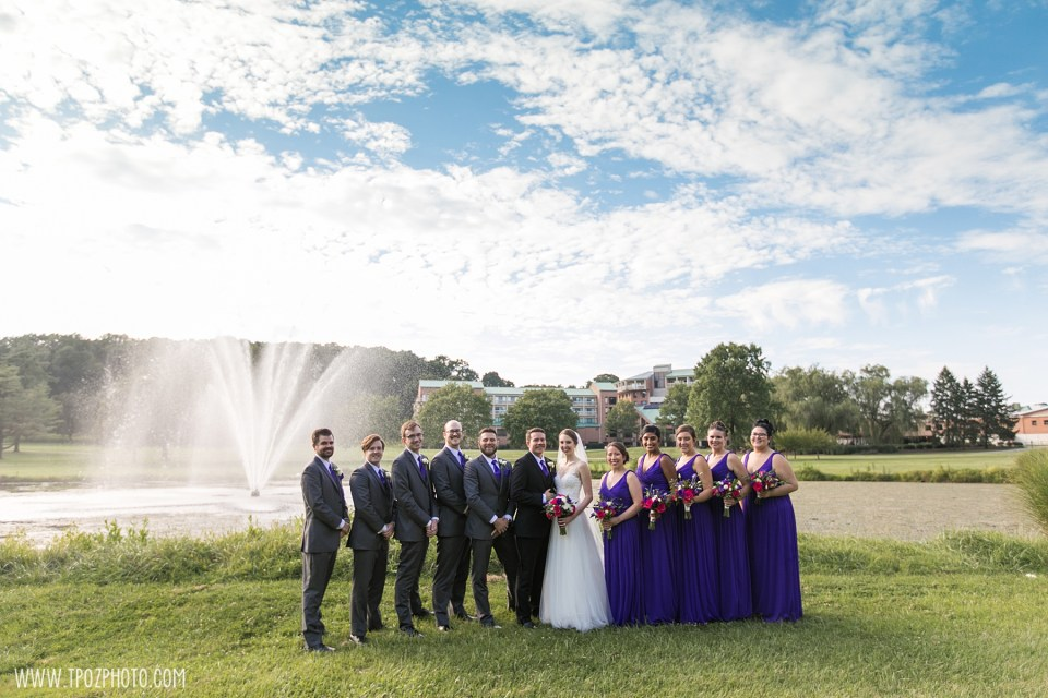 Wedding party in front of the fountain Turf Valley Resort Wedding Photos