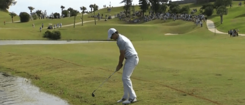Rory McIlroy playing left handed at the PGA Grand Slam of Golf