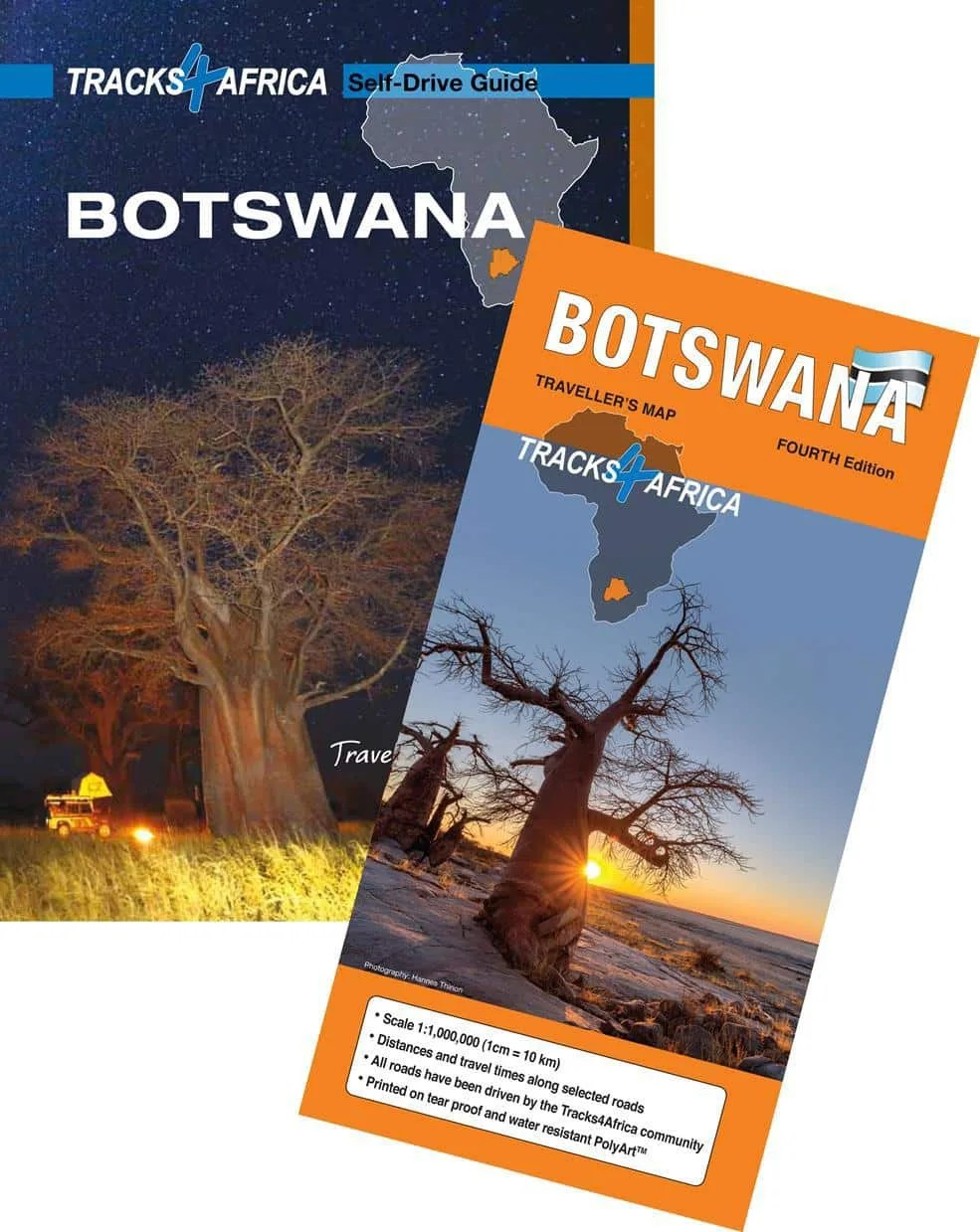 The paper map and guide book for Botswana.