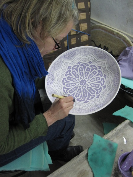 Fes-Pottery- Cooperative-Moroccan-Tourist- Painting-Dish