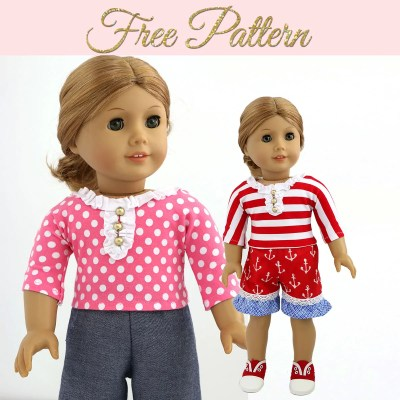 Free Doll Clothes Pattern – 18 inch Doll Tshirt Pattern