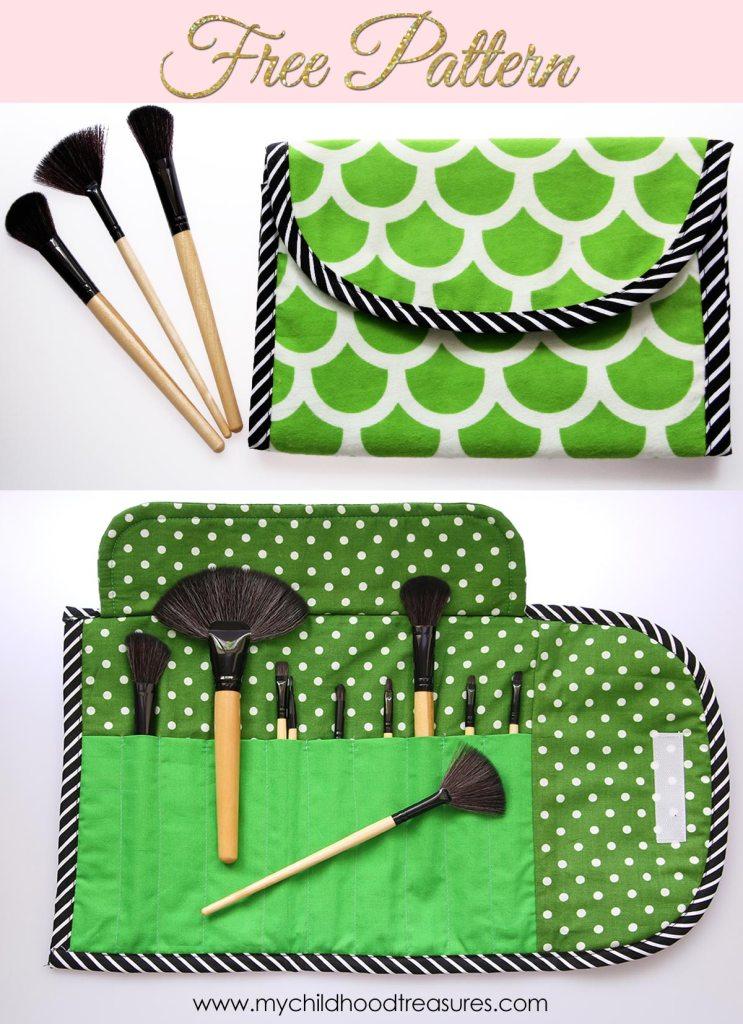 Free Clutch Pattern - DIY Makeup Brush Roll |TREASURIE