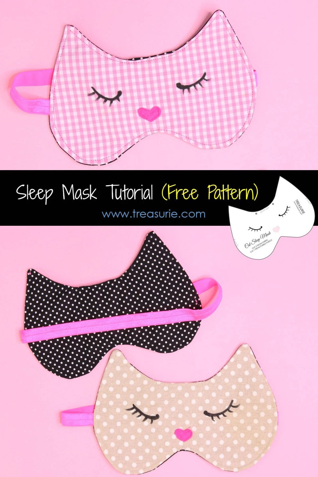 sleep mask tutorial, cat mask