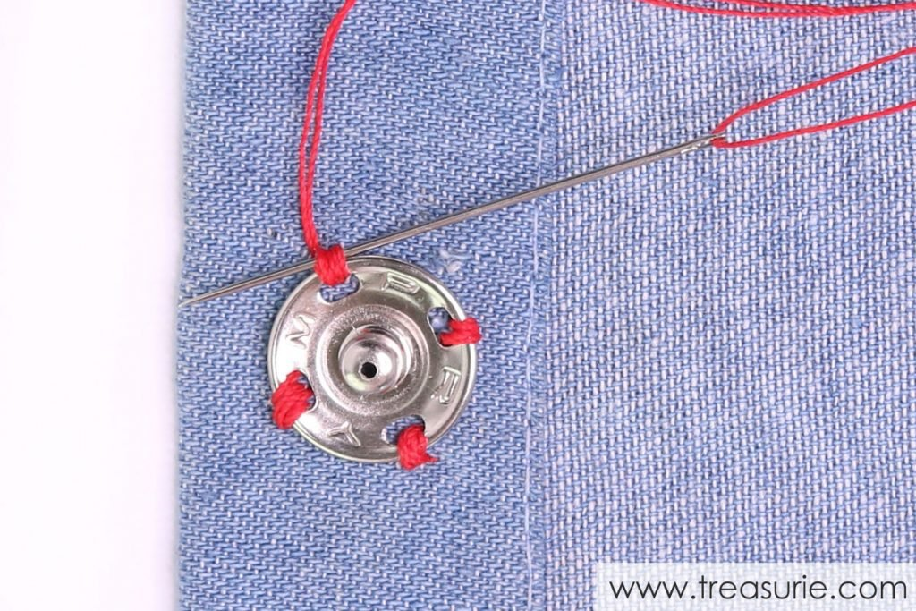 How to Sew on Snaps - Stitching