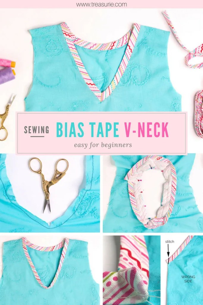 how to sew a v neck with bias tape