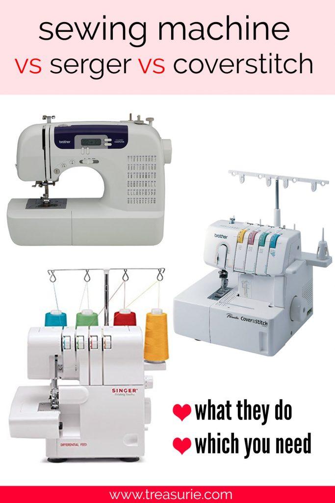 sewing machine vs serger vs coverstitch