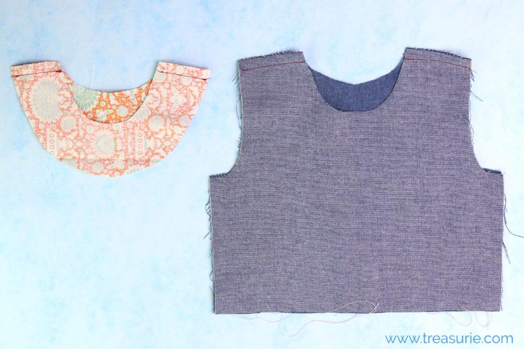 sewing facings step 1