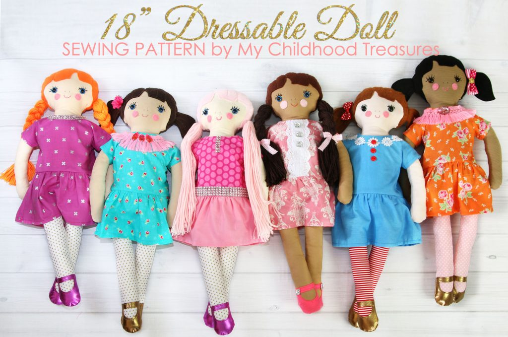 18 inch fabric doll, rag doll