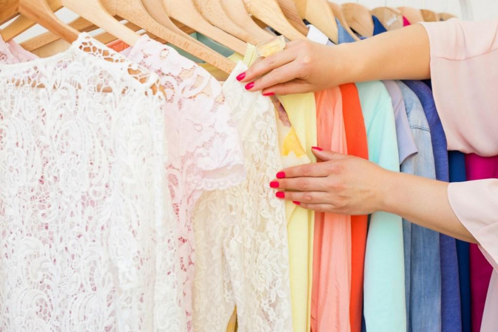 clothing on rack