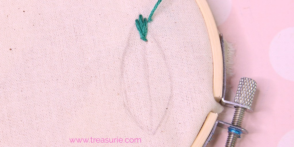 fishbone stitch embroidery step 4a