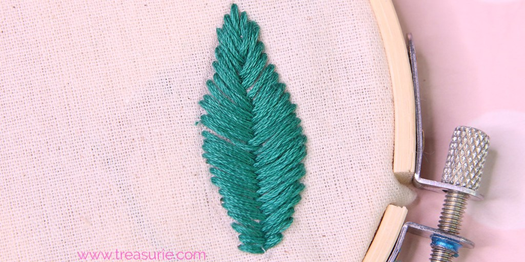 fishbone stitch leaf