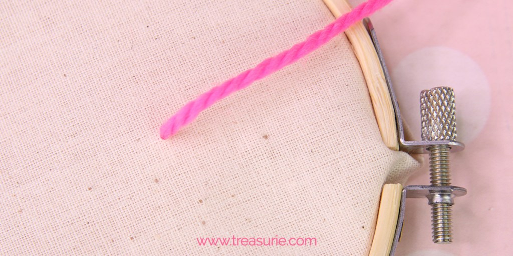 fly stitch step 1 bring thread to the right side