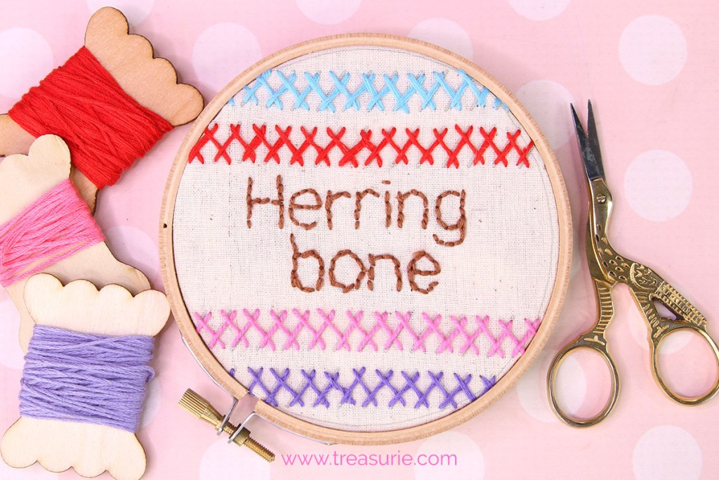 Herringbone stitch embroidery