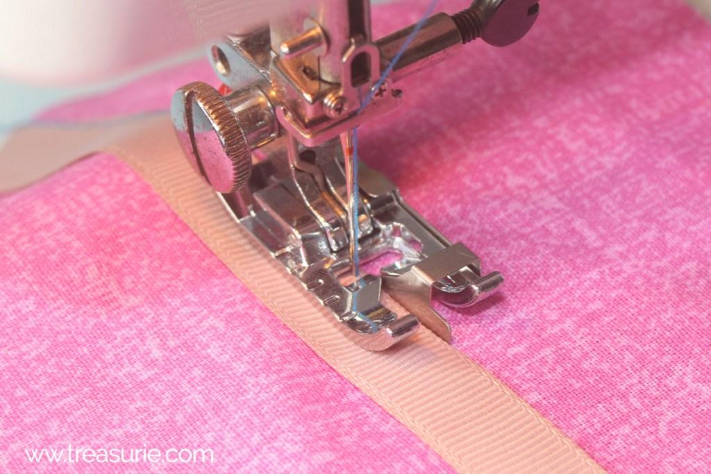 Stitch ribbon with edge stitch foot