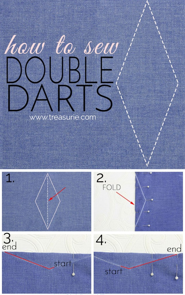 how to sew waist darts, double darts