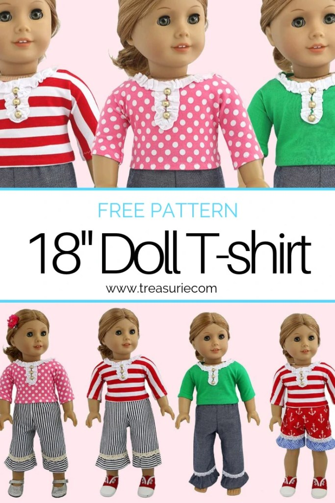 Doll tshirt pattern, free doll clothes pattern