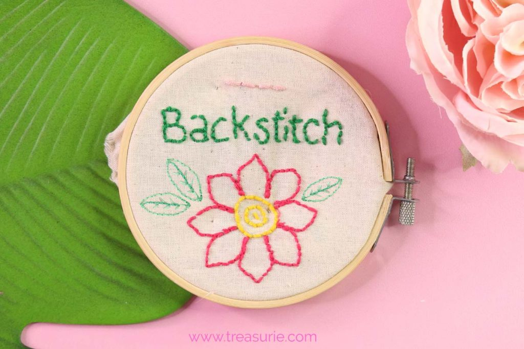 backstitch embroidery leaves