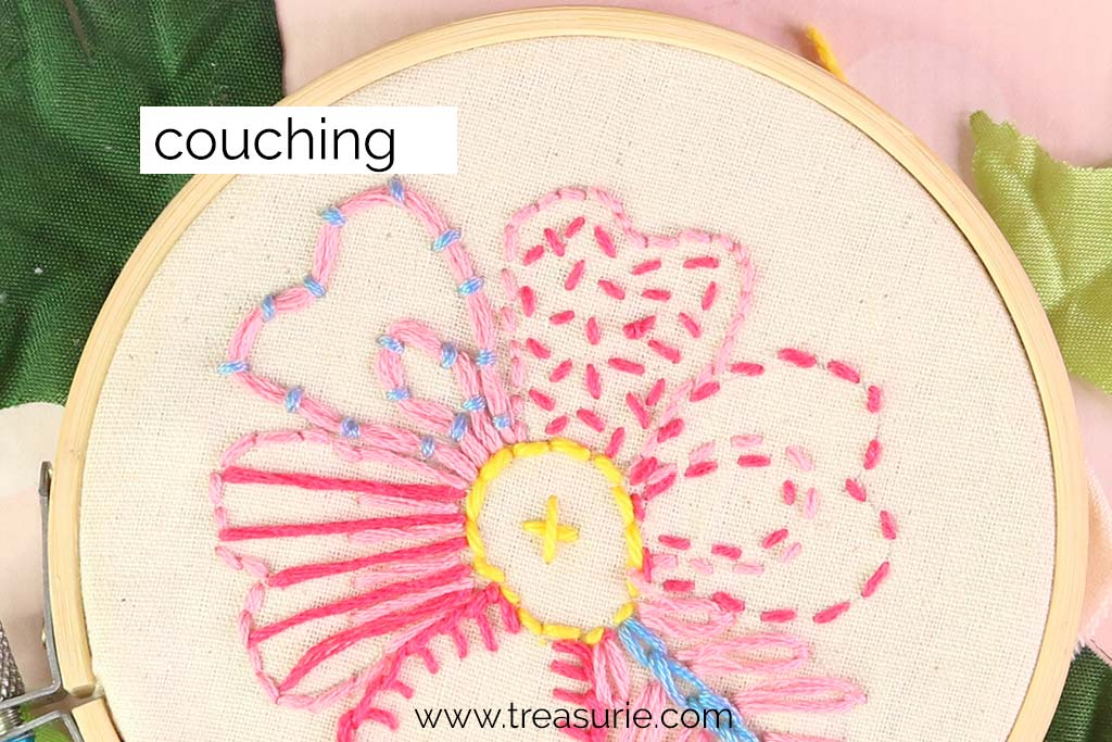 Couching for Embroidery Flowers