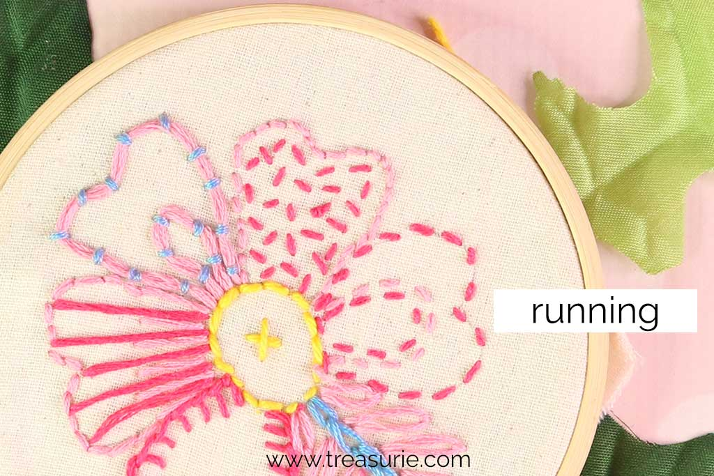Running Stitch for Embroidery Flowers