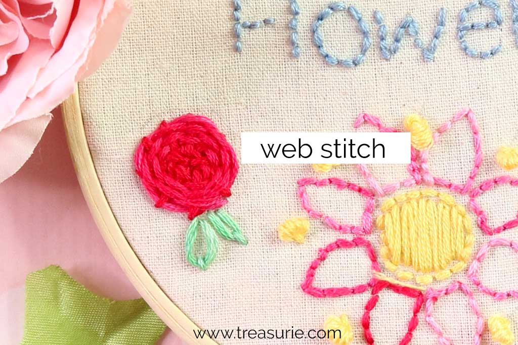 Web Stitch for Embroidery Flowers